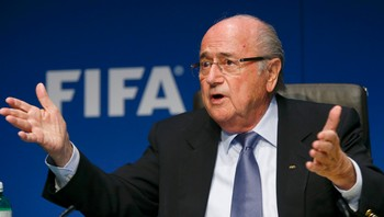 SOCCER-FIFA/ARRESTS FIFA President Blatter addresses a news conference in Zurich
