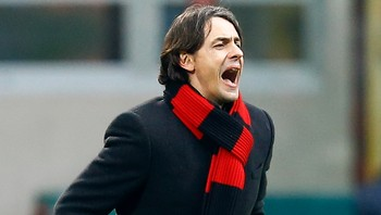 SOCCER-ITALY/ AC Milan coach Filippo Inzaghi reacts during their Serie A soccer match against Empoli at the San Siro stadium in Milan
