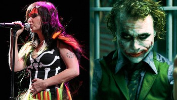 Björk og Heath Ledger - Björk og Heath Ledger som Joker i «The Dark Knight». - Foto: Paul Familetti/Creative Commons (Björk) og Reuters/HO (Ledger) /