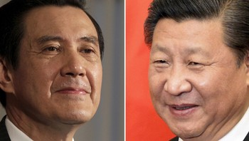 TAIWAN-CHINA/MEETING Combination photograph shows Taiwan President Ma Ying-jeou and Chinese President Xi Jinping