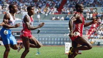 Ben Johnson Documentary Ben Johnson, Carl Lewis, Linford Christie - Ben Johnson ble diska, og Carl Lewis overtok gullmedaljen. - Foto: Gary Kemper / Ap