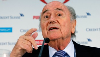 SOCCER-EURO/ FIFA president Blatter gestures during a news conferece after the Swiss women's soccer A team qualifyed for the FIFA Women's World Cup, in Luzern