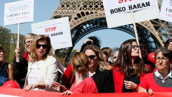 "NIGERIA-GIRLS/WARCRIMES-FRANCE Former French first lady Valerie Trierweiler attends a gathering ""Bring Back Our Girls"" near the Eiffel Tower in Paris"