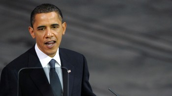 Barack Obama under sin Nobel-tale - Barack Obama under sin Nobel-tale i Oslo rådhus.Scanpix/AFP
