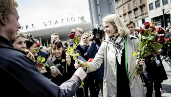 DENMARK-ELECTION/DATE Danish Prime Minister Helle Thorning-Schmidt announces a general election for June 18 during a news conference in Copenhagen