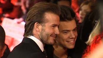 United-film - To idol møtte pressen. David Beckham og One Direction-stjerne Harry Styles.