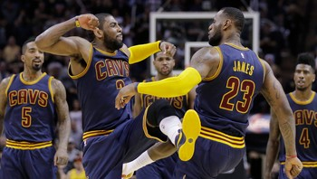 Cavaliers Spurs Basketball LeBron James, Kyrie Irving
