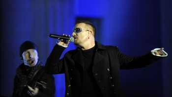 U2, The Edge og Bono - Foto: Axel Schmidt / Scanpix/AFP