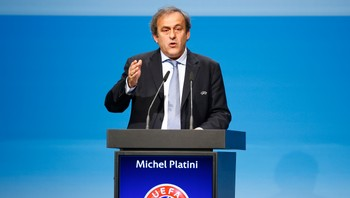 UEFA-SOCCER/ UEFA President Michel Platini delivers his speech at the UEFA congress in Vienna