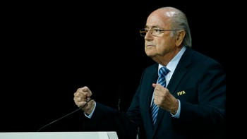 SOCCER-FIFA/ FIFA President Blatter makes a speech before the election process at the 65th FIFA Congress in Zurich