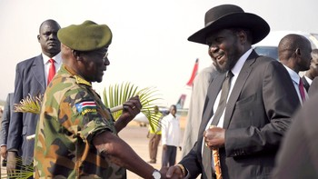 SOUTHSUDAN-UNREST/ South Sudan's President Salva Kiir is received by SPLA Chief of General Staff Awan at the airport in Juba