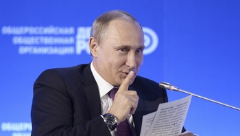 RUSSIA-PUTIN/CENBANK Russian President Vladimir Putin gestures during the Business Russia forum in Moscow