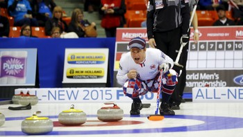 CURLING-WORLD/ Norway's skip Ulsrud calls a shot as Canada's skip Simmons looks on during the 11th draw of the World Men's Curling Championships in Halifax
