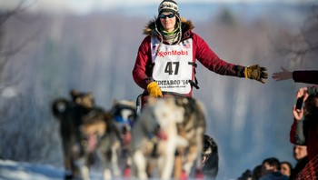 USA-IDITAROD/ Leifseth Ulsom of Norway heads up the first hill out of the start chute during the official restart of the Iditarod dog sled race in Willow, Alaska - Foto: NATHANIEL WILDER / Reuters