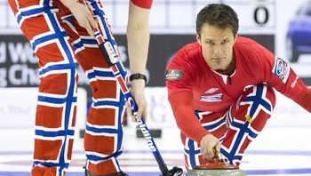 CURLING-WORLD/ Norway's skip Ulsrud delivers a rock against Czech Republic during 14th draw of World Men's Curling Championships in Halifax