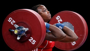 WEIGHTLIFTING/ Norway's Kasirye competes in the Olympic women's 69kg weightlifting venue test event in London