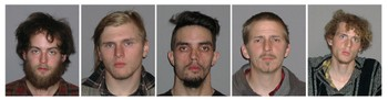 US-ATTACKS-BRIDGE - FBI publiserte i dag bilde av de selverklærte anarkistene Connor Stevens, Brandon Baxter, Douglas Wright, Anthony Hayne og Joshua Stafford som ifølge politiet planla å sprenge Ohio bridge. - Foto: HO / Afp