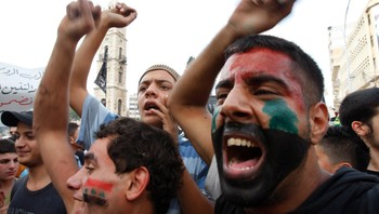 LEBANON/ Protesters chant against Syrian regime - Demonstranter roper slagord mot det syriske regimet. - Foto: STR / Reuters