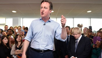 BRITAIN-ELECTION/ Britain's Prime Minister David Cameron speaks at an election rally in Hendon in north London