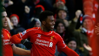 SOCCER-ENGLAND/ Liverpool's Daniel Sturridge celebrates his goal during their English Premier League soccer match against West Ham United at Anfield in Liverpool