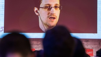 Edward Snowden på storskjerm under CeBIT 2015