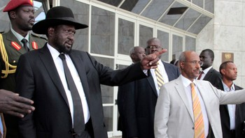 SOUTHSUDAN-UNREST/ South Sudan's President Kiir gestures as he leaves after attending peace talks with the South Sudanese rebels in Ethiopia's capital Addis Ababa