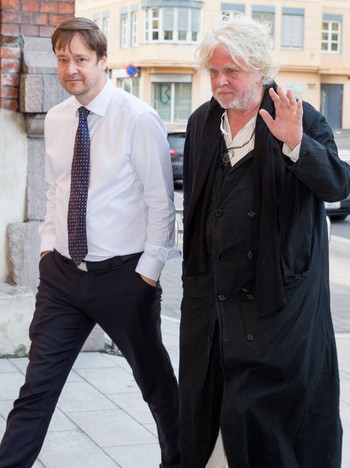 Odd Nerdrum and John Christian Elden - Odd Nerdrum arrived appeal the Court of Appeal with his attorney John Christian Elden in mid-May. - Photo: Junge, Heiko / NTB Scanpix