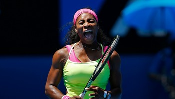 TENNIS-OPEN Serena of the U.S. celebrates defeating Cibulkova of Slovakia to win their women's singles quarter-final match at the Australian Open 2015 tennis tournament in Melbourne - Foto: ATHIT PERAWONGMETHA / Reuters