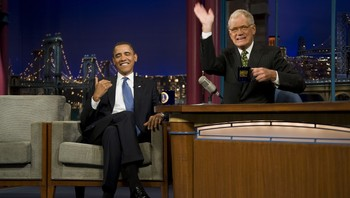David Letterman med Barack Obama