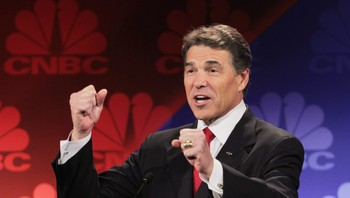 Rick Perry - Rick Perry under debatten i Michigan der han dummet seg ut. - Foto: SCOTT OLSON / Afp