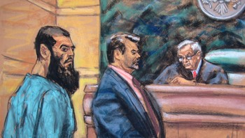 USA-BRITAIN/ALQAEDA Abid Naseer is seen in a courtroom sketch as he pleads not guilty to terrorism charges in New York