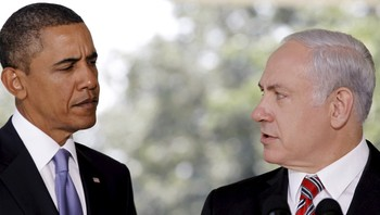 ISRAEL-USA/ File photo of U.S. President Obama listening as Israeli PM Netanyahu delivers a statement in Washington