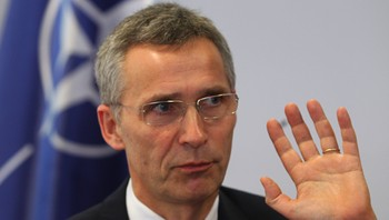 Jens Stoltenberg speaks to Reuters in Pristina
