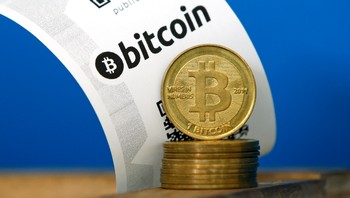FRANCE-BITCOIN/ A Bitcoin (virtual currency) paper wallet with QR codes and coins are seen in an illustration picture taken at La Maison du Bitcoin in Paris