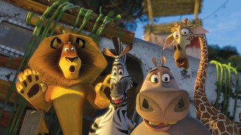 "Alex, Marty, Melman og Gloria i ""Madagaskar 2"". - Foto: Foto/copyright: United International Pictures /"