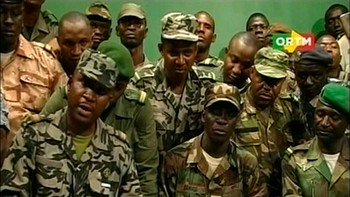 MALI-ARMY/ Renegade Malian soldiers appear on television at the ORTM television studio in Bamako