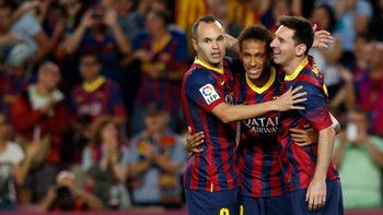 Barcelonas Neymar, Messi and Iniesta