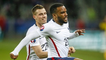 SOCCER-FRIENDLY/FRANCE-DENMARK France's Lacazette celebrates after scoring against Denmark during their international friendly soccer match at the Geoffroy-Guichard stadium in Saint-Etienne