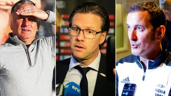Jönsson, Norling og Hansen - SLITER I MOTGANG: Aalesund-trener Jan Jönsson, Brann-trener Rikard Norling og RBK-trener Per Joar Hansen har måttet tåle mange kritiske spørsmål etter svake seriestarter.NTB scanpix