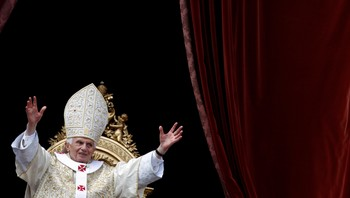 "POPE/EASTER Pope Benedict XVI waves as he makes his ""Urbi et Orbi"" (To the city and the world) address from a balcony in St. Peter's Square in Vatican"
