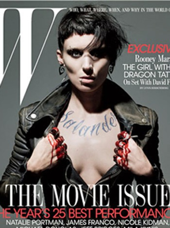 Rooney Mara og Noomi Rapace som Lisbeth Salander. - Rooney Mara, slik hun vil framstå i «The Girl With The Dragon Tattoo».Nordisk Film Distribusjon AS/ W magazine (faksimile)