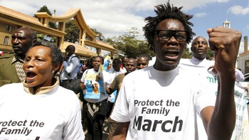 AFRICA-GAYMARRIAGE/ Members of the anti-gay caucus chant slogans against the LGBT community as they march along the streets in Kenya's capital Nairobi