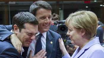 EU-SUMMIT/ Greek Prime Minister Alexis Tsipras Italian Prime Minister Matteo Renzi and German Chancellor Angela Merkel attend a European Union leaders summit in Brussels