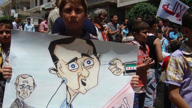 Tegning av Bashar al-Assad (Foto: Shaam News Network/Reuters/NTB Scanpix)