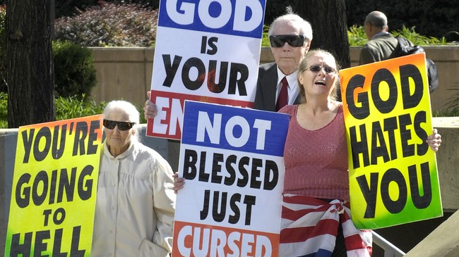 Kraftig kost fra Westboro Baptist Church (Foto: Jed Kirschbaum/AP)