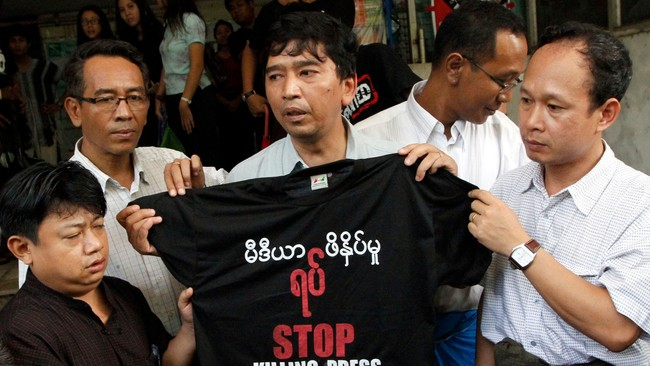 Myanmar Press Freedom Min Ko Naing (Foto: Khin Maung Win/Ap)