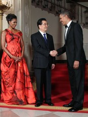 Barack Obama, Hu Jintao, Michelle Obama (Foto: J. Scott Applewhite/Ap)
