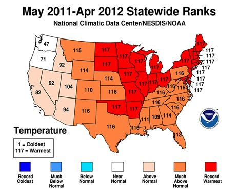 USA varmeste år fra mai 2011 til april 2012  (Foto: http://www.ncdc.noaa.gov/temp-and-precip/maps.php?ts=12&year=2012&month=4&imgs[]=Statewidetrank&subm)