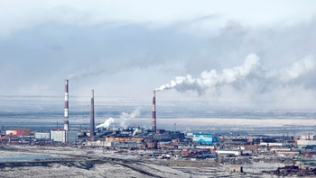 RUSAL NORILSK/ABRAMOVICH A file photo shows a general view of Norilsk Nickel's copper plant in Russia's Arctic city of Norilsk