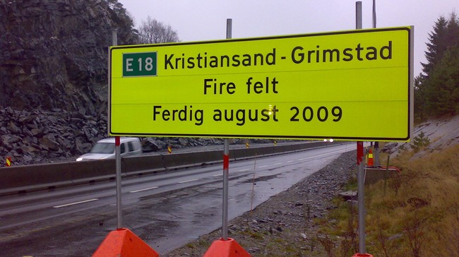 E18 mellom Kristiansand og Grimstad (Foto: Svein Sundsdal/NRK)